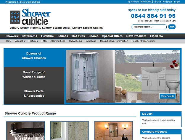 Shower Cubicle Ecommerce Website