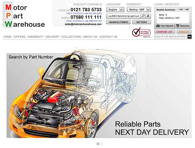 Motor Part Warehouse - ecommerce (magento) website