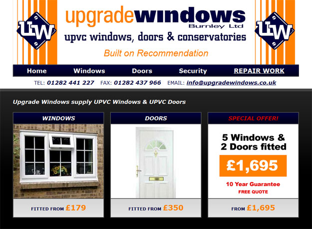 Upgrade Windows (Burnley / Keighley) Website Design